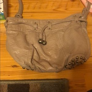 Grey Shoulder Bag with Accents across the bottom